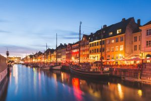 colorful houses copenhagen old town night