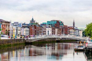 view dublin with ha penny bridge ireland
